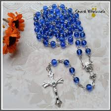 rosary favors for baptism hot sale religious 6mm blue glass rosary necklace chalice