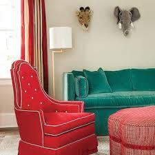 red velvet sofa transitional living room