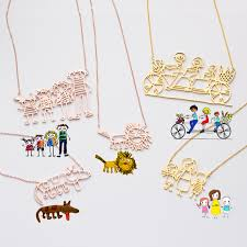 actual kids drawing necklace children artwork necklace kid