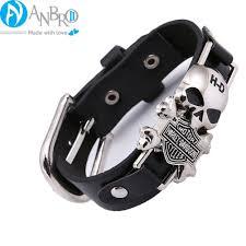 man wrist bracelet images Harley davidson logo men wristband leather bracelet anbro2 kuwait jpg