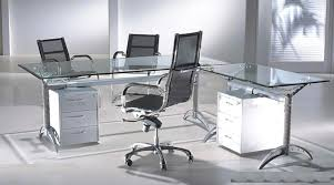 Metal L Shaped Desk Office Modern Wood And Black Glass Ofiice Desk With 2 Drawers