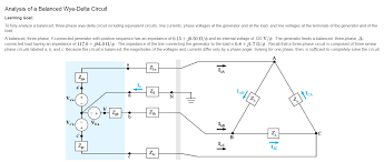 analysis of a balanced wye delta circuit learning chegg com