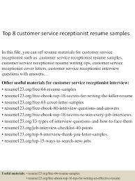 resume format for receptionist top8customerservicereceptionistresumesamples 150527142554 lva1 app6892 thumbnail 4 jpg cb 1432737058