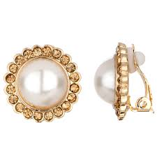 leonie s imitation pearl gold button clip on earrings