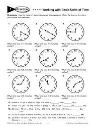 elapsed time worksheets 4th grade working with basic units of time 5th 6th grade worksheet