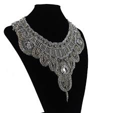 bridal necklace crystal images Bridal necklace choker embroidered bib statement necklace crystal jpg