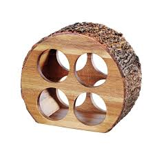 artaste 4 bottle acacia wood countertop wine rack with natural