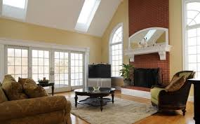 modern living room with brick fireplace interior design