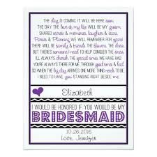 will you be my bridesmaid poem will you be my bridesmaid purple black poem v2 card zazzle