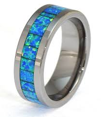 dark blue opal 6mm synthetic opal tungsten ring with a brilliant display dark