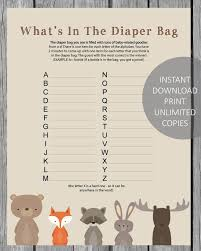 what s in the bag baby shower what s in the bag baby shower woodland animals theme