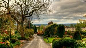 country houses way england clouds beautiful views wallpapers