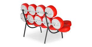 Nelson Sofa Marshmallow Sofa Red Premium Leather Kardiel