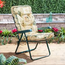 Cushions For Reclining Garden Chairs Garden Recliner With Classic Cushion And Green Frame