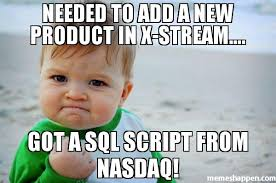 Meme Script - needed to add a new product in x stream got a sql script from