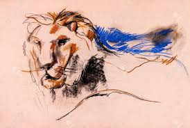 old grunge original pastel and hand drawn working sketch of