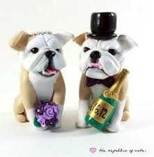 customized bulldog wedding cake toppers handmade in your colors