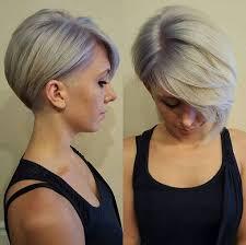 history on asymmetrical short haircut long bangs short pixie cut grey hair lavender and lilac hair