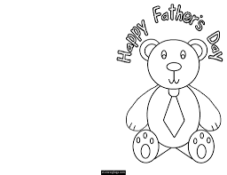 fathers day teddy bear cut out card coloring page for printable