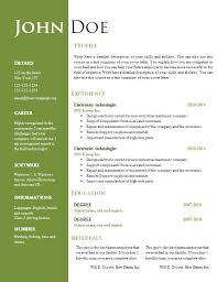 Resume Word Template Professional Cv Format Word Document Simple Resume Image 26206