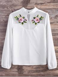 embroidered blouses mesh panel floral embroidered blouse white blouses l zaful