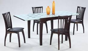 Space Saver Dining Set Table Four Chairs Dining Tables Glass Dining Table Set Tempered With Wood Base