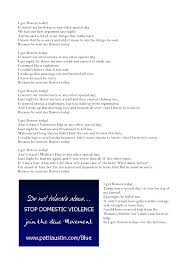flowers today i got flowers today a poem dedicated to victims of domestic violen