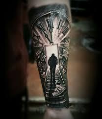 clock stairs black grey tattoo ink pinterest grey tattoo