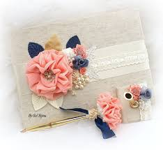 wedding guest book and pen wedding guest book navy blue coral ivory gold bridal