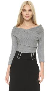 wrap sweater top lyst line dot wrap sweater top grey in gray