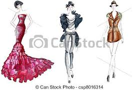 drawing of three fashion sketches csp8016314 search clip art