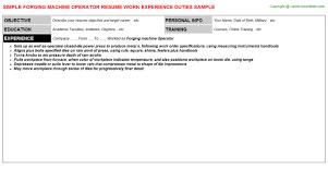 Truck Driver Job Description For Resume by Forging Machine Operator Resume Sample