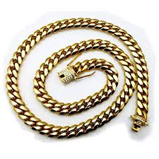 gold big chain necklace images Big miami cuban link chain necklace 14mm heavy 18k gold solid iced jpg