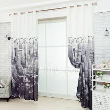 Unique Curtains For Living Room Modern New York City Painting Unique Poly Cotton Curtain For
