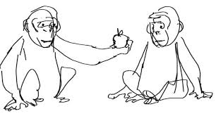 morality 1 this simple sketch of a monkey giving another monkey
