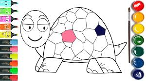 turtle drawing and painting learn colors coloring pages youtube