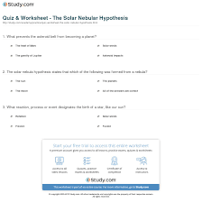 quiz u0026 worksheet the solar nebular hypothesis study com