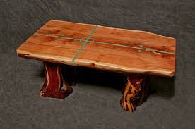 live edge table with turquoise inlay buy a hand crafted cedar slab table with natural living edges and