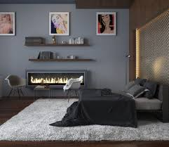 Teenage Bedroom Wall Colors - cool teen bedroom ideas with electric fireplace and grey wall