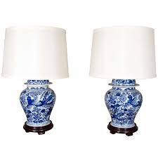 White Ceramic Bedroom Lamps Pair Of Blue And White Chinese Temple Jar Lamps At 1stdibs