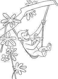 hanging with one hand curious george coloring pages cartoon