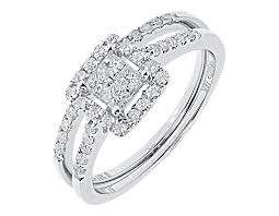 halo wedding ring 14k white gold princess engagement bridal