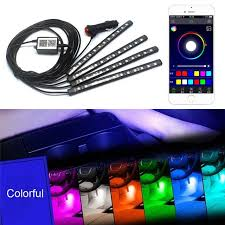 app controlled car lights 12v led bluetooth phone control car interior decoration strip light