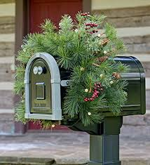 lighted mailbox swag with battery operated auto timer