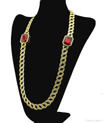 red big necklace images 2018 men gemstone miami cuban chain 2 square red ruby big gem jpg