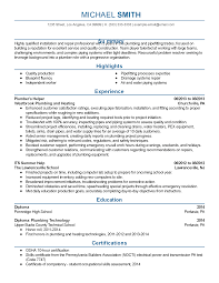pipefitter resume sample plumber resume examples template professional plumbing assistant templates to showcase your talent