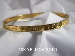 personalized bangle 18k solid gold custom personalized bangle purple pelican designs