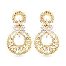 fashion earrings fashion earrings with synthetic kundan polki in 1 gm by auraa