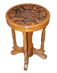 Elephant Side Table Carved Elephant Side Table Teak 29 From Uniquely Thai Decor