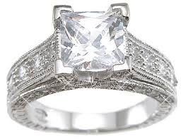 engagement rings that look real sterling silver cubic zirconia cz princess cut